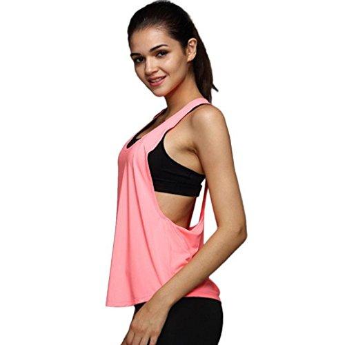 VENMO Mujer Verano Camiseta tirantes Deporte de Gimnasio sueltas Formación Ejecutar Camiseta sin mangas (S, Color de rosa)