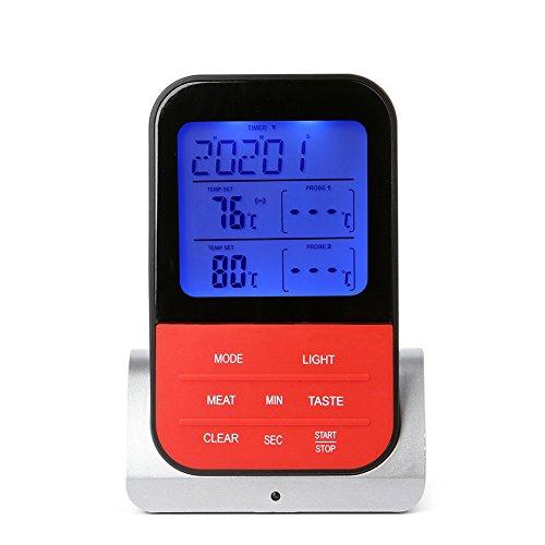 BeesClover termómetro eléctrico inalámbrico Impermeable para Barbacoa con Doble sonda para Chimenea,...