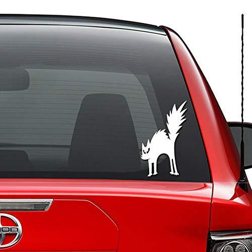 Seba5-Car sticker Scary Cat Halloween Vinyl vorgestanzte Aufkleber für Windows Wand Dekor Auto LKW Fahrzeug Motorrad Helm Laptop und mehr - (Größe 6 Zoll / 15 cm hoch) / (Farbe Glanz Weiß)