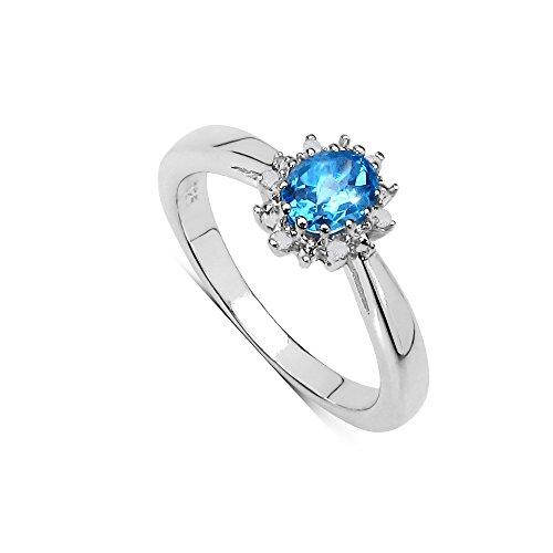 paz Ring: Ein wunderschönes Sterling Silber ovale Swiss Blue Topas und Diamant Cluster ring Engagement, Ringgröße 66 (21.0) ()