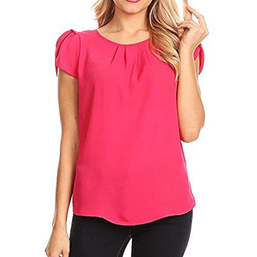 Lurcardo Damen Shirts T-Shirt Blusen Sommer Sexy Einfarbig Chiffon O-Ausschnitt Tuniken Mode Tops...