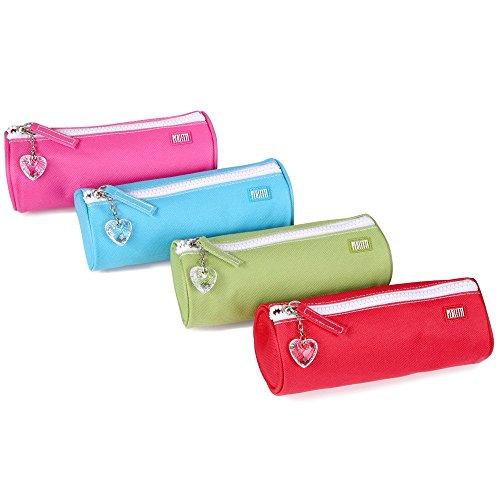 4 astucci ragazza in 4 colori rosso, verde, fucsia e azzurro - idea regalo donna - trousse trucchi da borsetta - pochette scuola portapenne e make up con cerniera e tiralampo a forma di cuore