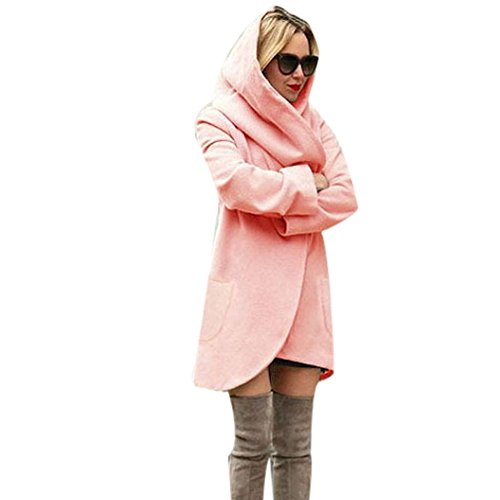 Trenchcoat Damen,Dasongff Mode Frauen Schlank Lang Elegant Wollmantel Lose Mantel Windbreaker Jacke Strickjacke Mantel Windjacke Mit Tasche und Kapuze (Rosa, XL) (Kapuzen-strickjacke Rosa)