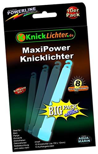 10 Maxi Power Knicklicht AQUAMARIN (Türkis) (150x15mm)