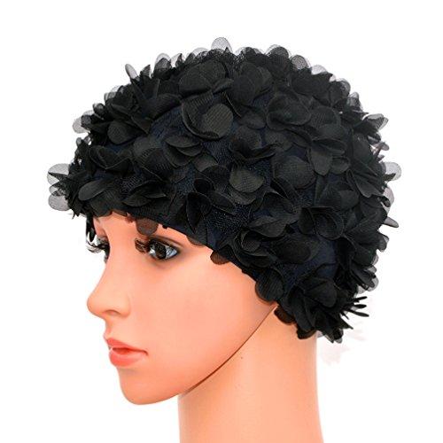 Medifier, cuffia da donna stile rétro con petali, motivo floreale, da piscina, black