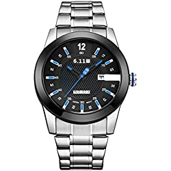 6.11 Men's Fashion Military Sport Stainless Steel Light Converting Power Analogue Quartz Wrist Watch with Auto Day (Silver/Blue)