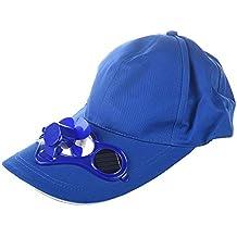 SODIAL(R) Verano al aire libre solar Sun Power gorra refresca el ventilador fresco para golf Beisbol Deporte - azul