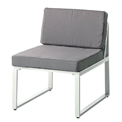 Aluminium Outdoor-möbel (Alu Loungesessel Ecke Clubsessel Garten Sessel Sitzgruppe Lounge Möbel Set grau (Loungesessel))