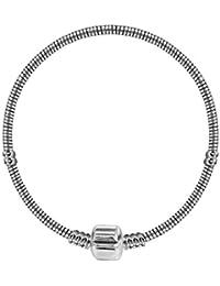 Pulsera y Collar para cuentas Pandora por BodyTrend en varios tamaños–bañado en plata–Tallas Disponibles: de 18a 22cm