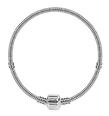 Bracelet pour perles Pandora - plaque Argent - Taille: 19 cm ou 7 1/2 inches/pouces - convient pour toutes les perles pandora, chamilia et troll beads - Eclatant et lumineux!
