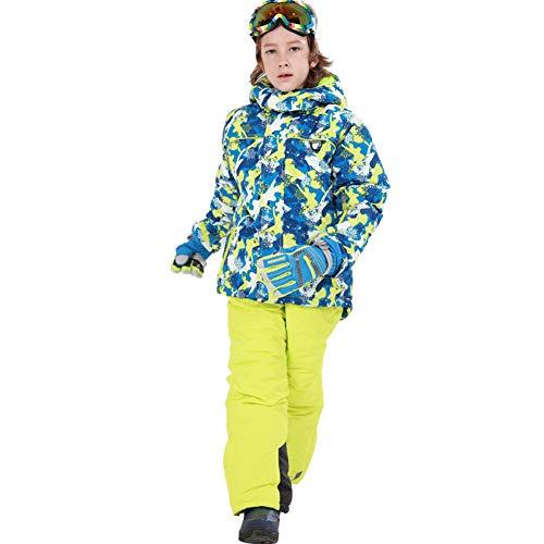 LPATTERN Traje de Esquí para Niños/Niñas Traje Conjunto de Nieve Impermeable para Deportes de Invierno, Azul Oscuro+Amarillo, Talla:116-122/5-6 años