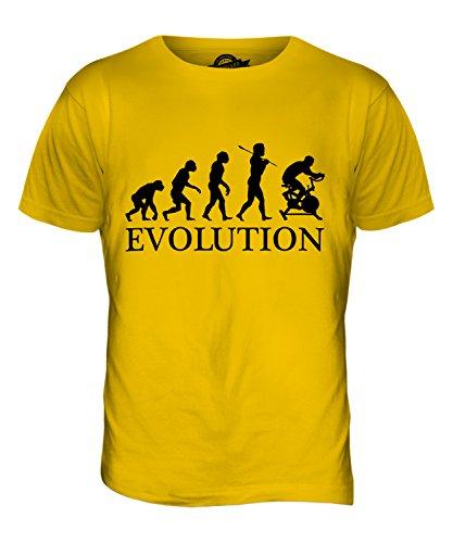 CandyMix Esercizio Di Bicicletta Evoluzione Umana T-Shirt da Uomo Maglietta Giallo Scuro