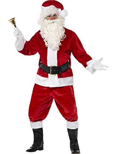 (costumebakery - Herren Kinder Kostüm Nikolaus Weihnachtsmann deluxe, Jacke Hose Gürtel Mütze Handschuhe und Stiefelüberzieher, Santa Claus, perfekt für Weihnachten Karneval und Fasching, One Size, Rot)
