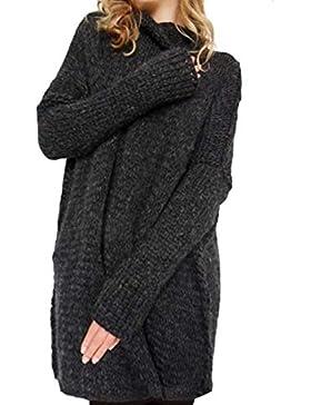 Jersey Cuello Alto Mujer Otoño Invierno Termica Suéter De Punto Manga Larga High Collar Anchas Casuales Moda Clásico...