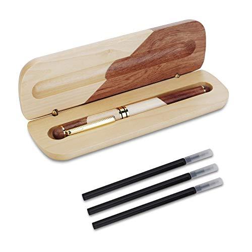 OMZGXGOD - Penna a sfera in legno naturale fatta a mano, penna regalo di lusso, personalizzata, set di penne regalo elegante ed elegante