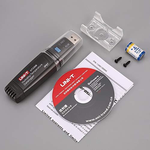 Jasnyfall Uni-T UT330B USB Feuchte-Temperaturaufzeichnungsgerät Temp/RH Datenlogger Thermometer Hygrometer Feuchtigkeitsmessgerät Meter -40 ~ ~ 80 ℃ Gery