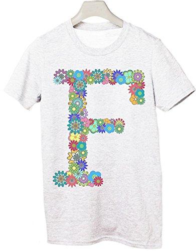 Tshirt nome con iniziale floreale F - fashion - summer - idea regalo - Tutte le taglie Bianco