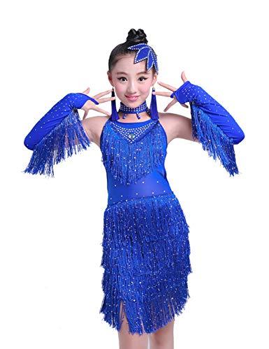 Zhhlinyuan Children Party Jazz Latein Dance Kleid Pailletten Quasten Tanzkleid - Kinder Mädchen Ballroom Wettbewerb Kostüm Kleid, Size 110cm-160cm