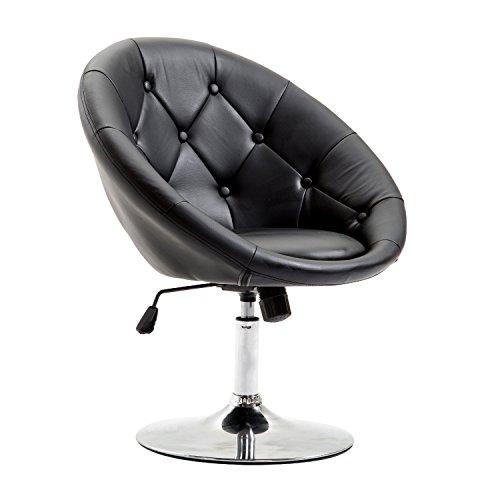 Homcom® Arbeitshocker Drehhocker Drehstuhl Bürostuhl verchromt höhenverstellbar, PU+Stahl, Schwarz/Weiß, 68x63x80-92cm (Schwarz)