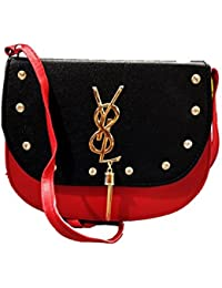 K&K KREATION RED AND BLACK SLING BAG WITH ADJUSTABLE STRAP