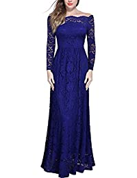 MIUSOL Schulterfrei Spitzen Langes Abendkleid Party Langarm Brautjungfer Damen Kleid Blau S-XXL