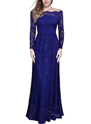 MIUSOL Schulterfrei Spitzen Langes Abendkleid Party Langarm Brautjungfer Damen Kleid Blau XL (Sommer Frauen Blau Kleider Für)