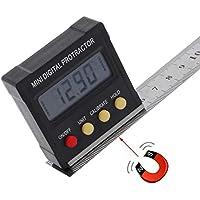 Calibrador De Ángulo Digital, Mini Caja De Nivel Electrónico Del Inclinómetro Del Transportador Del Buscador De Ángulo Digital Con Rango De 4 X 90 Grados + Base Magnética Negro