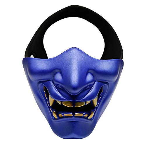 Happyshop Evil Smile Halbmaske Unisex Teufelsmaske Teufelsmaske Dämon Gruselmaske Festival Cosplay Kostüm Deko Maske für Halloween Party Film Requisite Maskerade, blau, 6.3
