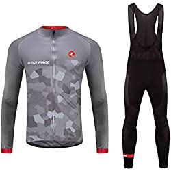 Uglyfrog #07 2017 Nuevo De Invierno Mantener caliente Manga Larga Maillot Ciclismo Hombre Bodies +Long Bib Pant with Gel Pad Winter Style