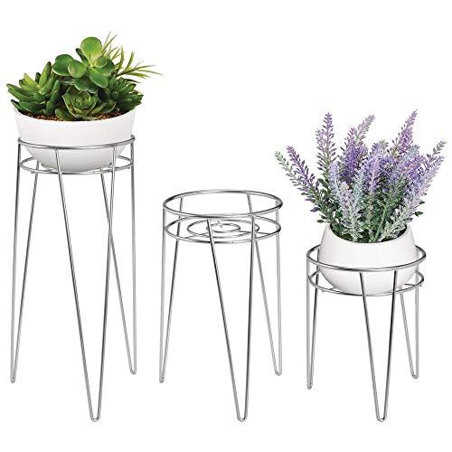 mDesign 3-er Set Midcentury Pflanzenständer für Blumen, Sukkulenten aus Metall - runder Blumenständer im modernen Design - vielseitig nutzbare Blumensäule für drinnen und draußen - silberfarben