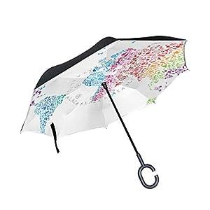 jstel doble capa diseño mapa del mundo paraguas de notas musicales coches Reverse resistente al viento lluvia paraguas para coche al aire libre con asa en forma de C