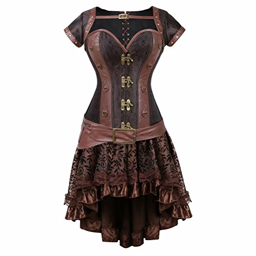 Mujer Cuero Corset Steampunk Bustiers corsés Vestido Falda Establecer Cool Warrior Vintage Marrón m
