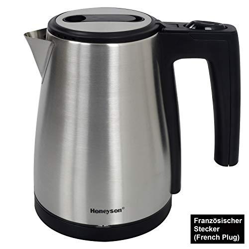 Honeyson Mini Wasserkocher Teekocher Edelstahl Kocher BPA frei kabellos 0,6 Liter 850 Watt 360° drehbarer Kontaktsockel, Überhitzungsschutz, Automatisch Abschaltung