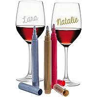 HHOOMY Vino Marcador de Copa de Vino - metálico Colores - Paquete de 8 - de Uso en Todos los de Cristal y de cerámica de Evento