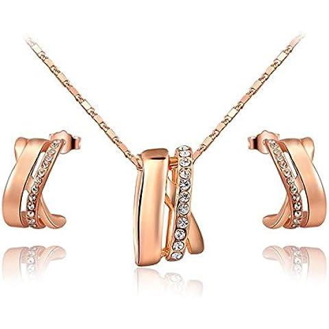 Ciondolo da donna collana e orecchini Oro 18placcato oro rosa cristalli pavimentazione recinzione