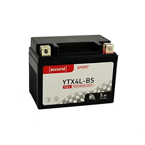 Accurat Motorradbatterie YB4L-B 5Ah 55A 12V Gel Technologie Starterbatterie in Erstausrüsterqualität zyklenfest sicher lagerfähig wartungsfrei