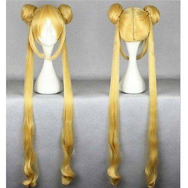 OOFAY JF® resistentes 100cm mujeres oro lindo caliente de la venta de calor de alta calidad rizado ondulado cosplay sailor moon peluca + coletas