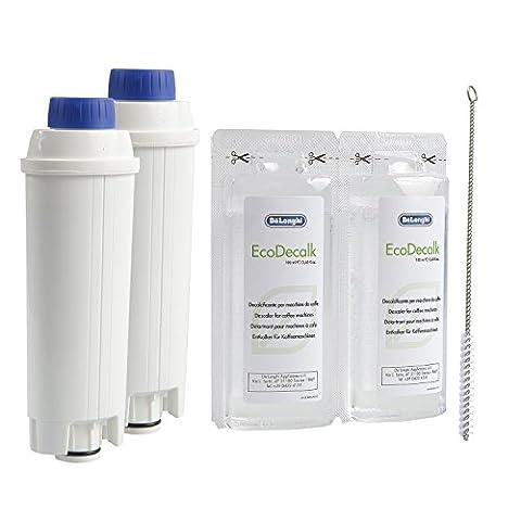 2 x DeLonghi Wasserfilter + DeLonghi Entkalker Mini 2x100ml + QUVIDO Reinigungsbürste
