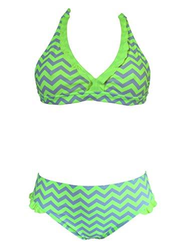 Mädchen Neckholder-ausschnitt Bikini/Bademode 122-176 (122-128, Gelbe Zickzack)