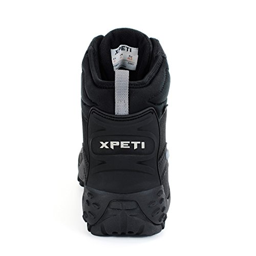XPETI Herren Mid High-Top wasserdichte Trekking & Wanderschuhe Outdoor Schuhe Stiefel Black