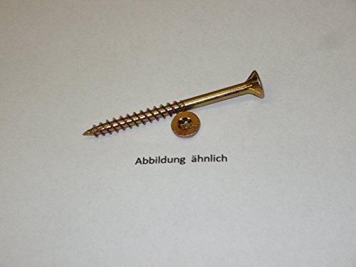 500 Stück Spanplattenschrauben I.-Stern TX gelb verzinkt 4,5x35 Senkkopf Teilgewinde und Fräsrippen unter dem Kopf