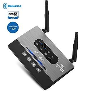Hosome Bluetooth 5.0 Transmitter Empfänger Bluetooth Adapter Audio 80m Reichweite mit NFC Verbindung 3,5mm Aux Digital Optischem Toslink apt-X HD/LL, Zwei Verbindung für TV PC Heimstereosystem