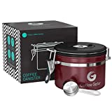 Coffee Gator-Edelstahl-Kaffeedose - Hält gemahlener Kaffee und Bohnen länger frisch - Behälter mit Datumsverfolgung, CO2-Freigabeventil und Messlöffel - Klein - Rot