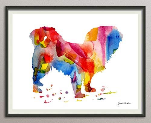 tibetan spaniel Rasse Hunde Hunderasse Fine Art Print Aquarell Silhouette Profil Poster Kunstdruck Plakat modern ungerahmt DIN A 4 Deko Wand Bild -