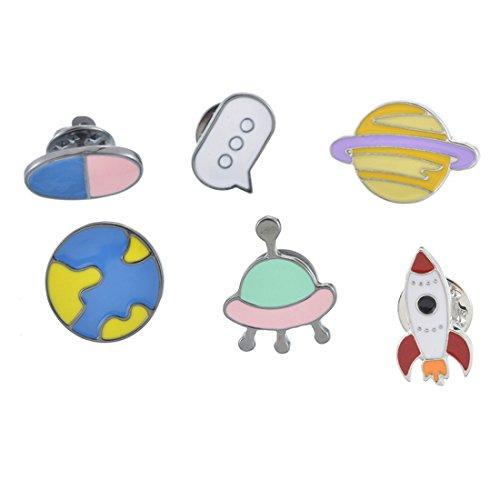 6 Stück Pins Set Kinder Anstecker Brosche Button Cartoon Erde Raumschiff Weltraum