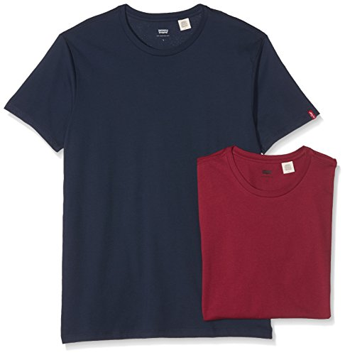 Levi's Herren T-Shirt Slim 2-er Pack Crew Tee Mehrfarbig (Dress Blues/Tibetan Red 23)