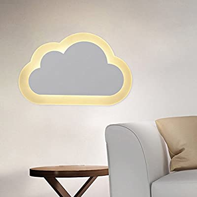 Sanyi Creative Vivid Clouds Shape Acrylic Iron Sconce Wall Light Lamp 8W LED Lights(Including), Warm White Light 3000k-3500k produced by Sanyi - quick delivery from UK.