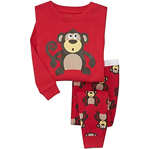Milanao Kids 'Boys' 2piezas juego de pijama de manga larga para niño (Cartoon 100% algodón camiseta & pantalones tamaño 2T-7T