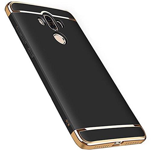 Coque Huawei Mate 9, MSVII® 3-in-1 Design PC Coque Etui Housse Case et Protecteur écran Pour Huawei Mate 9 - Argent JY50005 Noir