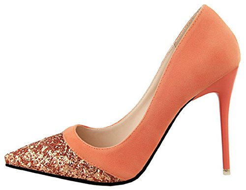 HooH Femmes Shiny Sequins Stiletto Mariage Escarpins 1132-13 Orange
